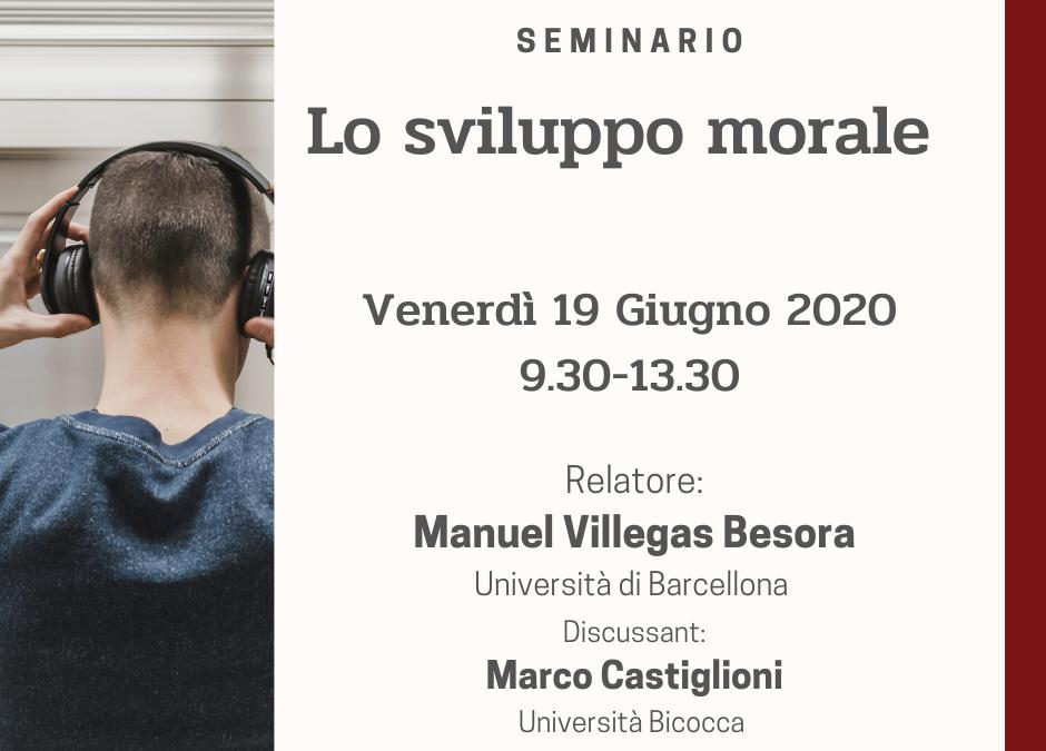 VENERDI' 19 GIUGNO – Manuel Villegas Besora –  Lo sviluppo morale