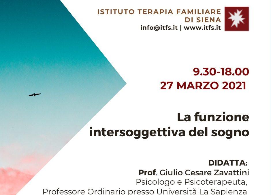 SABATO 27 MARZO – Giulio Cesare Zavattini –  La funzione intersoggettiva del sogno: tecniche di utilizzo clinico.