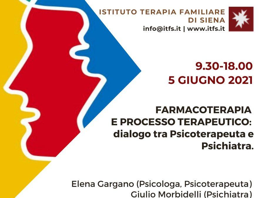 SABATO 5 GIUGNO – Giulio Morbidelli e Elena Gargano –  Farmacoterapia e processo terapeutico: dialogo tra Psicoterapeuta e Psichiatra.